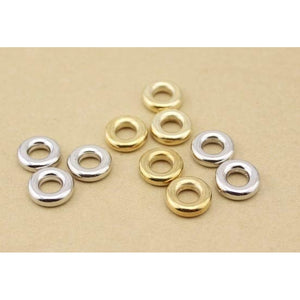 Linsoir 100pcs Silver Gold CCB Spacer Beads Hole Size 4/6mm Jump Rings for Bracelets Components Jewelry Findings