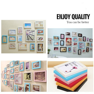 Family Home Decor 26 Pcs Wood Picture Wall Mounted Photo Frame Set