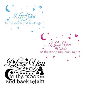 LOVE Quotes Wall Decor Wall Art I LOVE YOU To The Moon And Back Wall Sayings Quotes Easy Apply Wall Sticker Wall Art for Childre