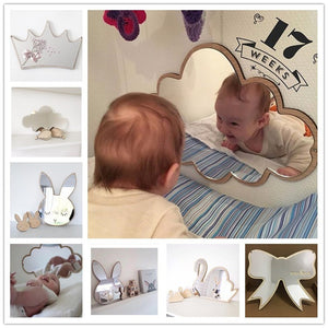 Creative Nordic Style Cartoon Kids Wall Mirror Stickers For Babies' room decoration Newborn photo prop