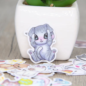 20/40pcs Self-adhesive Cute Waterproof Kitten Scrapbooking Stickers DIY Craft Sticker Photo Albums Decor Diary Decor