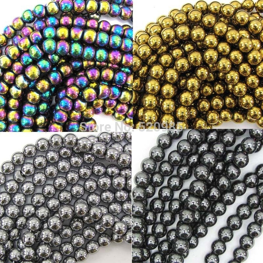 Non magnet Natural Stone Black/Gold/Silver/Rainbow Hematite round Beads 4 6 8 10 MM 16