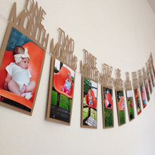Kids Birthday Gift Decorations 1-12 Month Photo Banner Monthly Photo Wall(5 Colours)