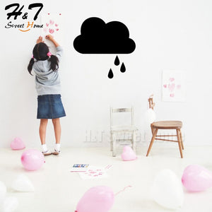 Cloud Raindrops Chalkboard Blackboard Kitchen Planner List Vinyl Wall Sticker Decal Nursery Kids Room 50x55cm
