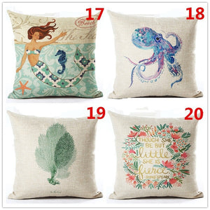 18 Inches Mermaid Cotton Linen Throw Pillow Case Car Sofa Cushion Cover Home Decor