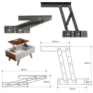 1Pair Lift Up Top Coffee Table Lifting Frame Mechanism Spring Hinge Hardware BAS