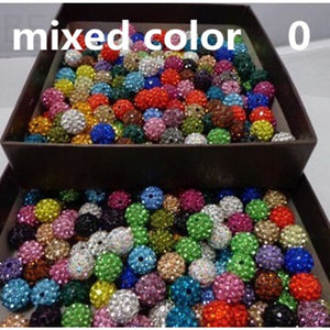30 Pcs 10mm 20 Colors Pave Ball Clay DIY Beads, Polymer Clay Rhinestone Beads Round Charms Jewelry Makings Single Color/Mixed Co