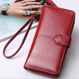 19 cm/7.4 Inch Woman Smooth PU Leather Zipper Wallet Bag Purse Portefeuille Large Capacity Card Holder Phone Bag Bill Pocket wit