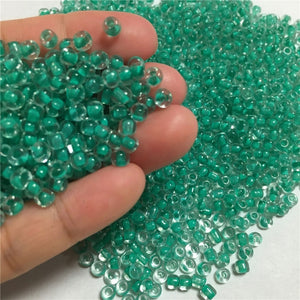 500Pcs Colored Core Glass Crystal Spacers Seed Beads for DIY Jewelry Making, 4mm x 3.2mm
