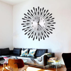 New 15inch 3D Large Wall Clock Shiny Rhinestone Sun Style Modern Living Room Decor