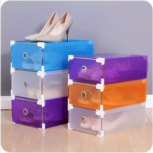 Foldable Clear Plastic Shoe Box Drawer Stackable Home Storage Box Organiser