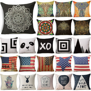 "18"" Cotton Linen Decorative Pillow Case Mandala Elephant Cushion Cover Sofa Square Waist Pillow Cover"