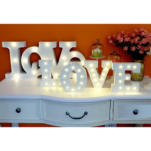 Wooden 26 Letter Alphabet Night LED Lamp Grow Light Wall Decoration For Children Bedroom Wedding Decor