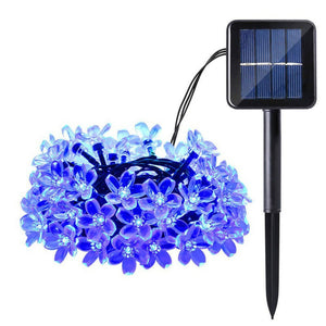 Cherry Blossom Solar String Lights, 23ft 50 LED Waterproof Outdoor Decoration Lighting for Indoor/Outdoor, Patio, Lawn, Garden,