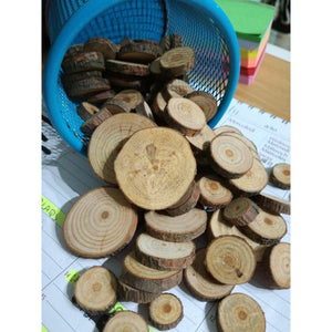 100pcs 1.5-3CM Wood Log Slices Discs for DIY Crafts Wedding Centerpieces