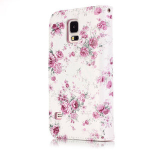 New Luxury Rose Painted Pattern Magnetic Flip PU Leather Skin Cover With Wallet 9 Card Slots Holder Mobile Phone Bag For Apple i