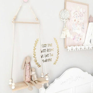 Nordic Style Wooden Swing Shelf Wish Clothes Rack Kids Toys Storage Shelf Baby Room Decor