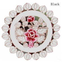 Round Elegant Polyester Floral Embroidery  Dining Tables Mats Bar Mat  kitchen accessories dining table mat bowl pad Table Decor