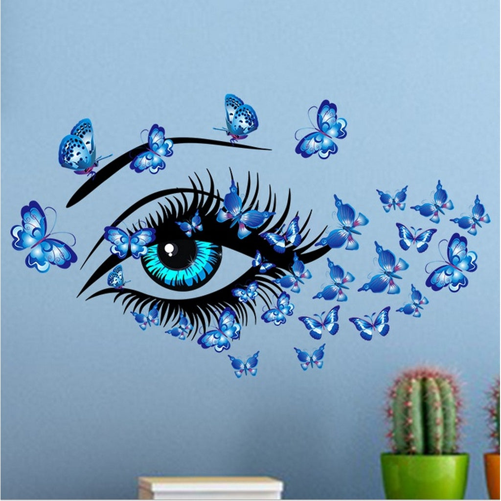 Living Room Bedroom Decorative Wall Stickers - Blue Eyes Woman Butterfly Wall Art
