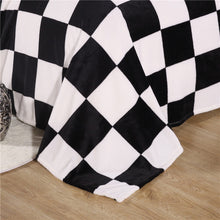 Black and White Plaid Coral Fleece Blanket Super Soft Warm Plaid Printed Sofa Towel Bed Quilt 200x230