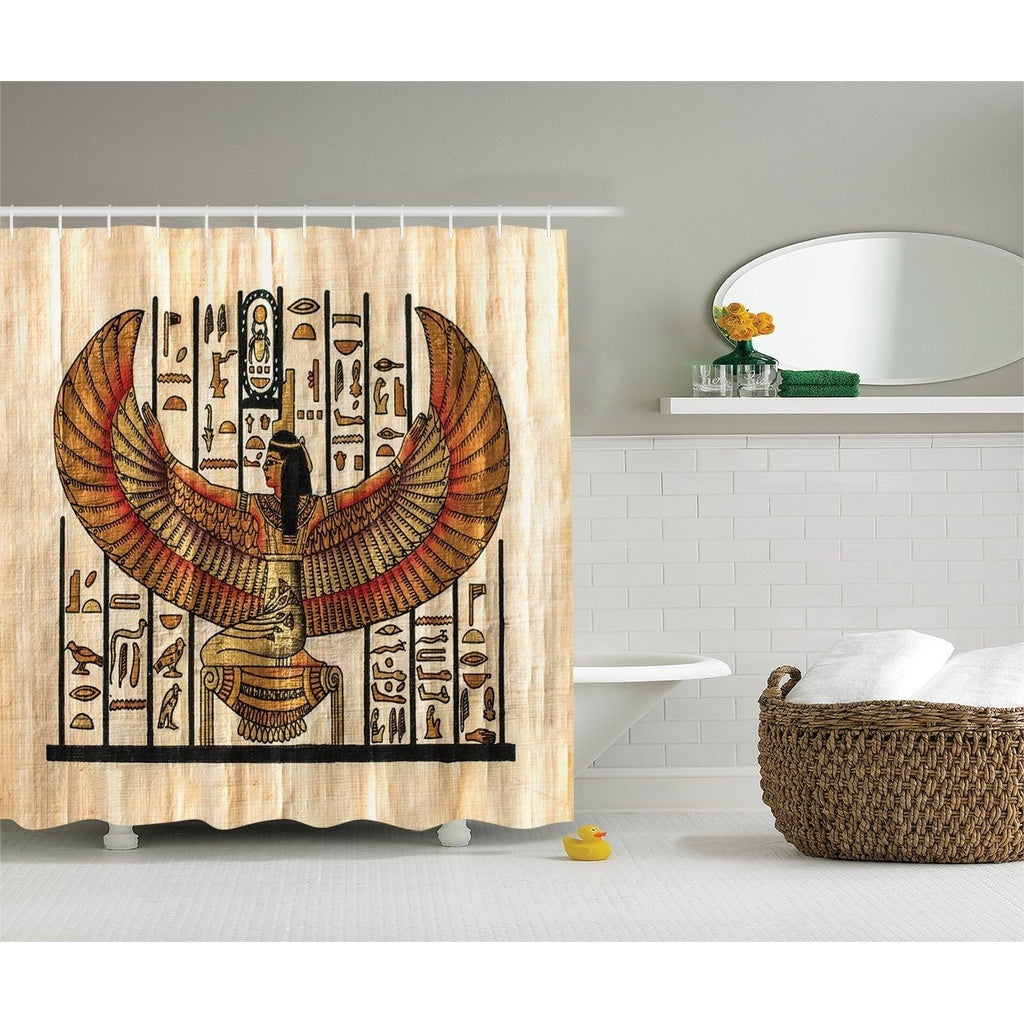 Egyptian Decor Collection, Ancient Religion Historical Art Egyptian Parchment Texture Background Image, Polyester Fabric Bathroo
