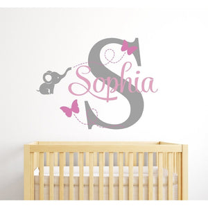 Customized Name Elephant Butteryfly Wall Decal for Girls Kids Baby Room Mural Removable Vinyl Wall Sticker