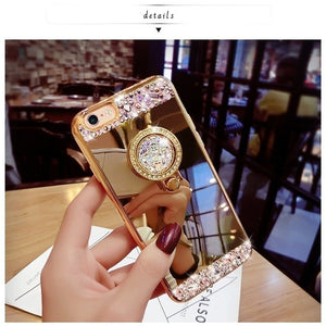 Luxury Crystal Rhinestone Bling Diamond Glitter Mirror Case Ring Stand for iPhone5 5S  6 6S 7 Plus 8 Plus X
