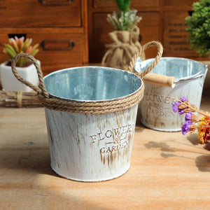 Vintage Metal Iron Keg Flower Pot Hanging Balcony Garden  Plant PlanterDecor Pot Fashion Hobbies