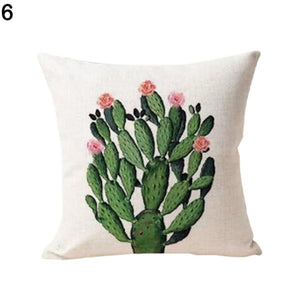 Pillowcase Water Plant Cactus Cotton Pillowcase Pure and Fresh Style Throw Pillow Cover Tropical Cactus