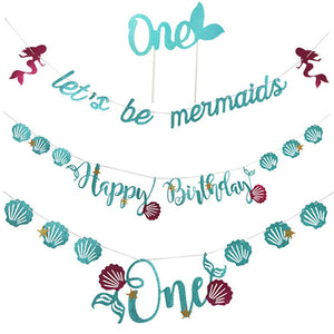 3Pcs Party Banners Creative Mermaid Hanging Banners Birthday Party Decorations with Cake Topper