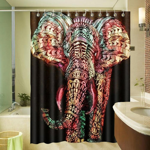 Elephant Waterproof Washable Bath Curtains Polyester Fabric Printed Bathroom Shower Curtain 72*72