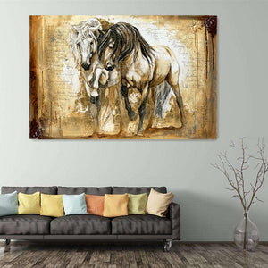 Retro Brown Horse Wall Art Canvas Horse Painting Vintage Home Decor Wall Decor Two Horses Standing Oil Painting