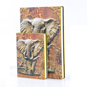 Vintage Elephant Pattern Relief Pu Leather Journal Diary Textbook