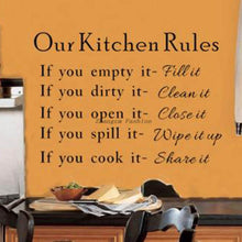 New Fashion Hot Our Kitchen Rules Cook Words Quote Wall Stickers Vinyl Art Decals Home Decor