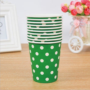 10pcs Polka Dot Paper Cup Case Environmental  Disposable Tableware Wedding Birthday Party Decorations 10 Color