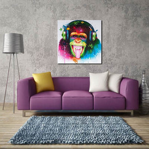 Modern Monkey Orangutan Animal Theme Colorful Art Wall Paintings Decorative Canvas Music Oil Paintings Home Decor