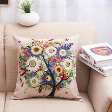 1PC Lowers Tree Cotton Linen Square Decorative Throw Pillow Case Cushion Cover
