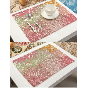 Conch and Starfish Patterns Placemat Printing Cotton Linen Placemat