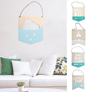 Durable Nordic Hollow Wooden Pendant Photography Props Kids Room Wall Hanging Ornament