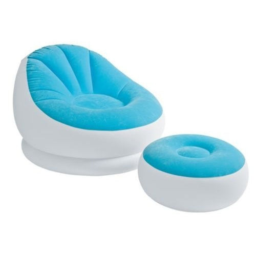 ( USPS 3 to 5 Working  Days Fast shipping )  Intex Inflatable Colorful Cafe Chaise Lounge Chair + Ottoman, Blue | 68572E-B
