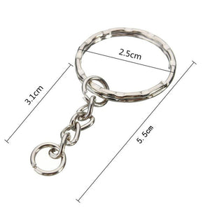 Hot Sale 50Pcs Keyring Blanks 55mm Silver Tone Keychain Key Fob Split Rings 4 Link Chain