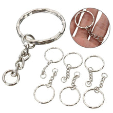 50Pcs Keyring Blanks 55mm Silver Tone Keychain Key Fob Split Rings 4 Link Chain DIY Key