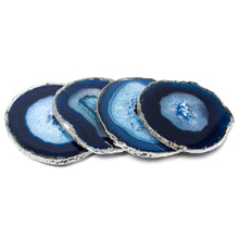 Modern Home Set of 4 Natural Agate Stone Coasters with Gold/Silver Edge