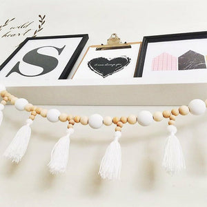 Fashion Nordic Style Wooden Ball Tassel Pendant Kids Room Decor Wall Hanging Ornament for Photography
