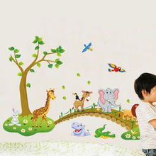 Removable Safari Animals Bridge Wall Stickers Nursery Decor Baby Kids Art Mural