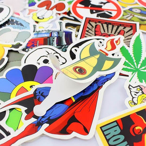 150pc Cartoon Car Sticker Decal Laptop Skateboard Stickers Bomb Doodle Graffiti