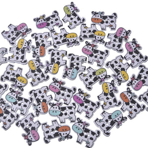 50 Pcs Mixed Wooden Buttons with Cow Pattern 2 Holes Sewing Scrap Booking