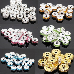 100PC Crystal Rhinestone Silver Plated Rondelle Spacer Beads
