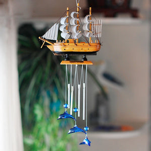 4 Tube Boat & Blue Dolphin Church Wind Chimes Outdoor Bells Garden Hanging Decor