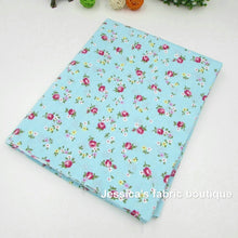 "4pcs/lot 15.7""X19.7""Blue Green Floral Cotton Fabric for Patchwork Sewing Telas Tissus Patchwork"